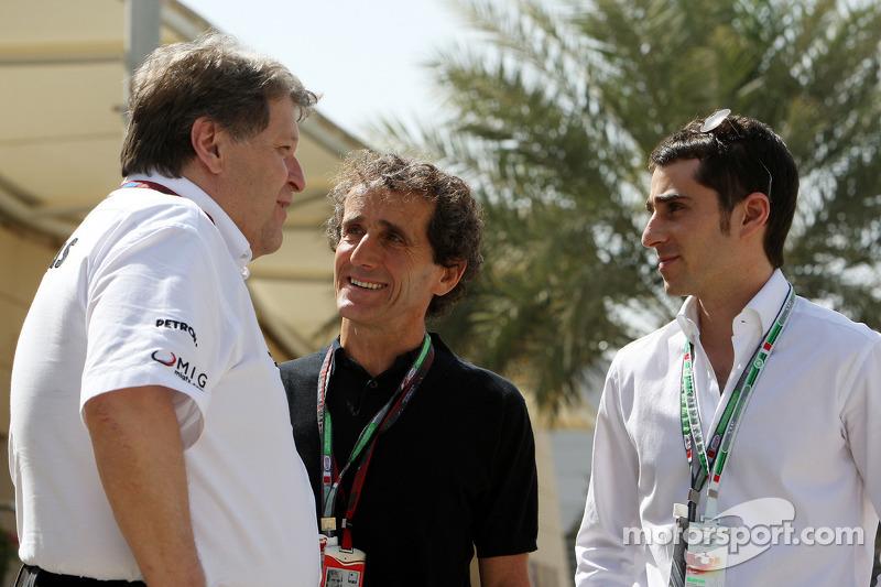 Норберт Хауг, четырехкратный чемпион мира Формулы 1 Ален Прост и его сын Николя Прост