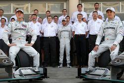 Mercedes GP team photo Michael Schumacher, Nick Fry, Chief Executive Officer, Mercedes GP, Norbert Haug, Mercedes, Motorsport chief, Nick Heidfeld, Test Driver, Mercedes GP, Ross Brawn Team Principal, Mercedes GP, Mercedes GP, Nico Rosberg, Mercedes GP