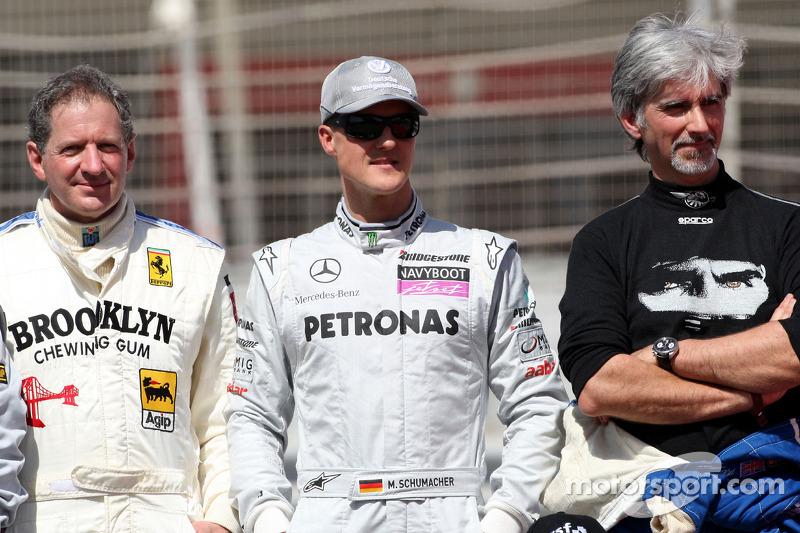 Jody Scheckter, campeón mundial de F1 1979, Michael Schumacher, Mercedes GP, Damon Hill, campeón mundial de F1 de 1996