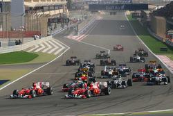 Inicio de la carrera, Felipe Massa, Fernando Alonso, Scuderia Ferrari, Scuderia Ferrari