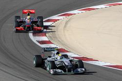 Nico Rosberg, Mercedes GP iídera a Lewis Hamilton, McLaren Mercedes