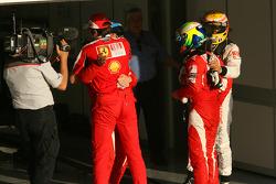 Ganador de la carrera Fernando Alonso, Scuderia Ferrari celebra con segundo lugar Felipe Massa, Scud