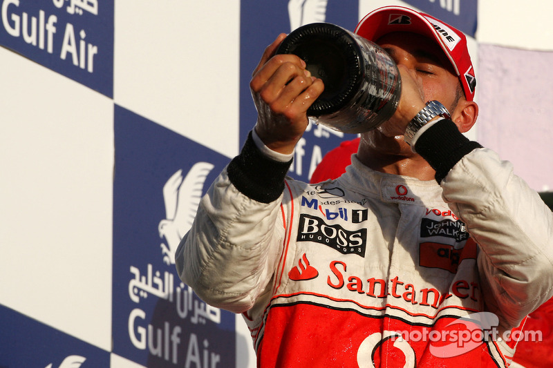 Podium: troisième place pour Lewis Hamilton, McLaren Mercedes