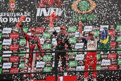 Podium: vainqueur Will Power, Team Penske, 2e Ryan Hunter-Reay, Andretti Autosport, 3e Vitor Meira,