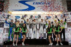 P2 podium: class winners Greg Pickett, Klaus Graf and Sascha Maassen, second place David Brabham, Simon Pagenaud and Marino Franchitti, third place Chris Dyson, Guy Smith and Andy Meyrick