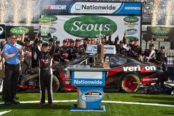 Victory lane: race winner Justin Allgaier celebrates