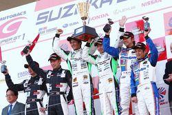 GT300 Podium : Winner #7 M7 Mutiara Motors Amemiya SGC-7: Nobuteru Tanigichi, Ryo Orime 2nd Place #46 Up Start Mola Z: Naoki Yokomizo, Tsubasa Abe 3rd place #19 Wedssport IS350: Manabu Orido, Tatsuya Kataoka