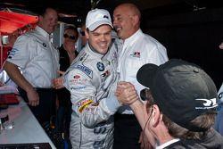 GT2 pole winner Dirk Muller celebrates