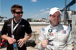 GT2 pole winner Dirk Muller celebrates with Tom Milner