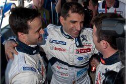 Marc Gene celebrates pole with Pedro Lamy and Nicolas Minassian