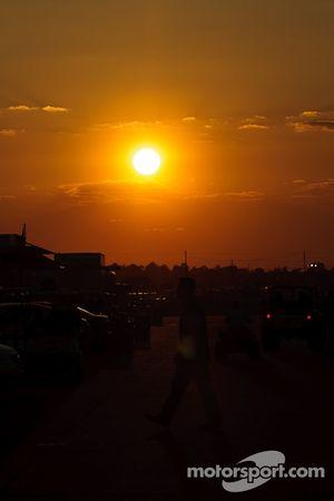 Paddock at sunset