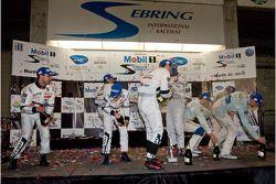 P1 podium: champagne celebration
