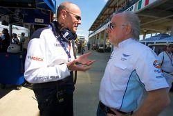 Peugeot Sport director Olivier Quesnel and David Richards