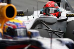 Michael Schumacher, Mercedes GP, Mark Webber, Red Bull Racing
