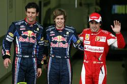 Pole winner Sebastian Vettel, Red Bull Racing, 2e Mark Webber, Red Bull Racing, et 3e Fernando Alon
