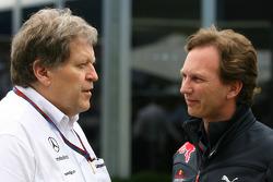 Norbert Haug, Mercedes, Chef du Sport automobile et Christian Horner, Red Bull Racing, Directeur spo