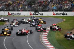 Départ de la course, Fernando Alonso, Scuderia Ferrari, Jenson Button, McLaren Mercedes, Lewis Hamil