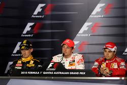 Podium: vainqueur Jenson Button, McLaren Mercedes, 3e Felipe Massa, Scuderia Ferrari