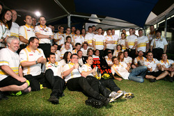 Eric Boullier, Team Principal, Renault F1 Team, Robert Kubica, Renault F1 Team and Vitaly Petrov, Re