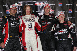 Podium: race winner Will Power, Team Penske, second place Justin Wilson, Dreyer & Reinbold Racing, t
