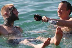 Jari-Matti Latvala enjoys a 'unique' interview by Neil Coles as the pair drift in the Dead Sea