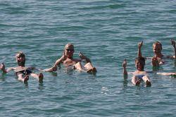 Mikko Hirvonen and Jari-Matti Latvala enjoy the Dead Sea experience