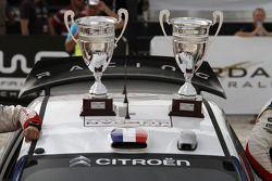 Podium: the winning trophies of Sébastien Loeb and Daniel Elena