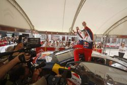 Winners Sébastien Loeb and Daniel Elena celebrate with Citroën Total World Rally Team team members