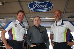 Jean Todt visits Malcolm Wilson and Gerard Quinn of BP Ford Abu Dhabi World Rally Team