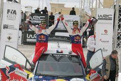 Podium: winners Sébastien Loeb and Daniel Elena