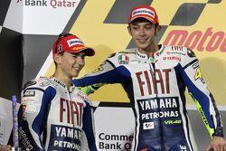 Podium: race winner Valentino Rossi, Fiat Yamaha Team with second place Jorge Lorenzo, Fiat Yamaha T