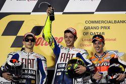 Podium: Sieger Valentino Rossi mit Jorge Lorenzo und Andrea Dovizioso
