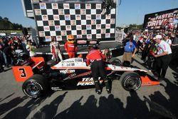 Race winner Helio Castroneves in victory lane