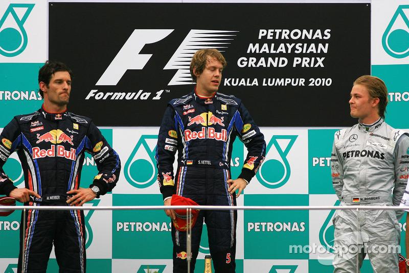 2010: 1. Sebastian Vettel, 2. Mark Webber, 3. Nico Rosberg