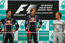 Podium: race winner Sebastian Vettel, Red Bull Racing, second place Mark Webber, Red Bull Racing, th