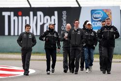 Michael Schumacher, Mercedes GP walk the circuit with Andrew Shovlin, Mercedes GP, Senior Race Engineer to Michael Schumacher, Nico Rosberg, Mercedes GP, Ross Brawn, Brawn GP, Team Principal