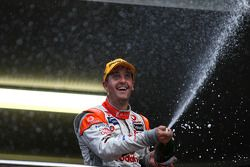 Jamie Whincup celebrates after taking out race one of the Hamilton 400