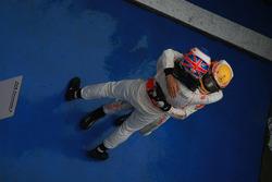Race winner Jenson Button, McLaren Mercedes, celebrates with second place Lewis Hamilton, McLaren Me