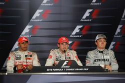 Post-race press conference: race winner Jenson Button, McLaren Mercedes, second place Lewis Hamilton, McLaren Mercedes, and third place Nico Rosberg, Mercedes GP Petronas