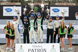 LMPC podium: class winners Gunnar Jeannette and Elton Julian, second place Scott Tucker and Christophe Bouchut, third place J.R. Hildebrand and Tom Sutherland