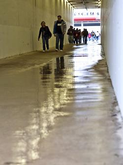 Rain falls on the Texas Motor Speedway