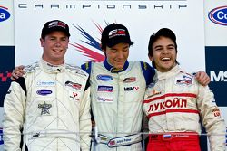 Podium from left: Dean Stoneman, Jolyon Palmer and Sergey Afanasiev