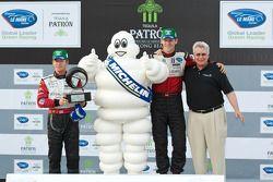 Michelin Green X Challenge podium: GT winners Patrick Long and Jorg Bergmeister