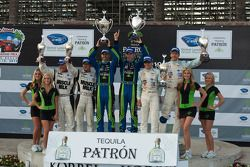 LMP podium: class and overall winners David Brabham and Simon Pagenaud, second place Adrian Fernandez and Harold Primat, third place Greg Pickett and Klaus Graf