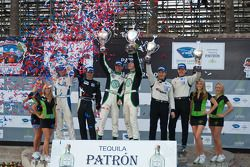 LMPC podium: class winners Gunnar Jeannette and Elton Julian, second place Scott Tucker and Christop