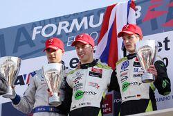 Race winner Alexander Sims with Edoardo Mortara and Marco Wittmann