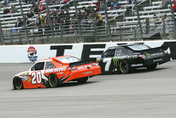 Joey Logano, Joe Gibbs Racing Toyota and Robby Gordon, Robby Gordon Motorsports Toyota