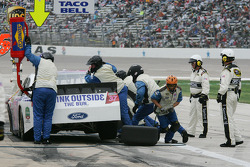 Pit stop for David Gilliland, Front Row Motorsports with Yates Racing Ford