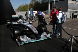 Mercedes-Benz display with a mock up of the 2010 F1 car of Michael Schumacher