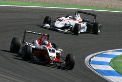 Valtteri Bottas, ART Grand Prix, Dallara F308 Mercedes, leads Roberto Merhi, Mücke Motorsport, Dalla